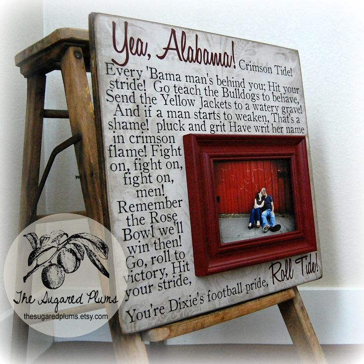 University of Alabama College, BAMA Roll Tide, Crimson Tide, College Football Fight Song, Wall Art, 16x16 Personalized Picture Frame by thesugaredplums on Etsy https://www.etsy.com/listing/118927366/university-of-alabama-college-bama-roll