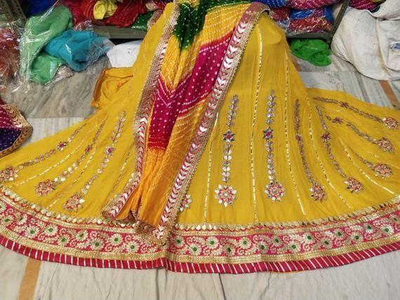 Traditional chaniya choli heavy lehenga with all over gotta patti work