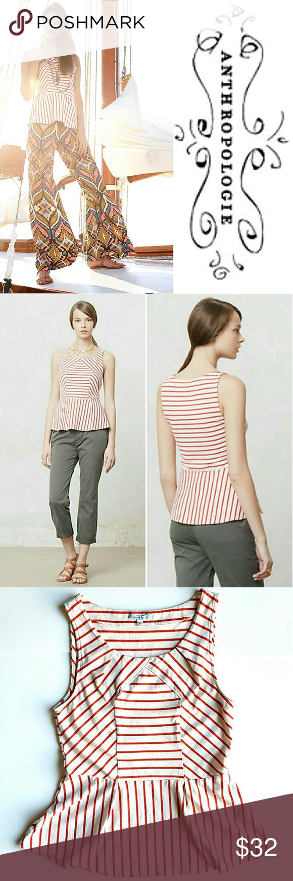 """Slantwise Peplum Top Red and white striped peplum top by LeifNotes. So girly and flattering, perfect for the warm weather.  16"""" armpit to armpit,  23"""" long shoulder to bottom hem.  Gently used, in great condition. Anthropologie Tops Blouses"""