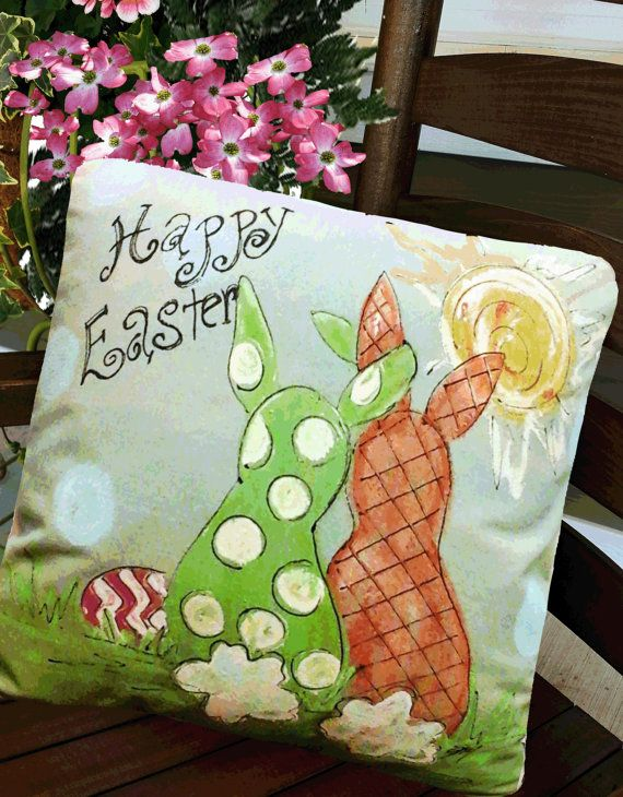 Pillow Cover, Polka-dot, Happy Easter Bunnies, Springtime, Indoor/Outdoor, Hand-painted