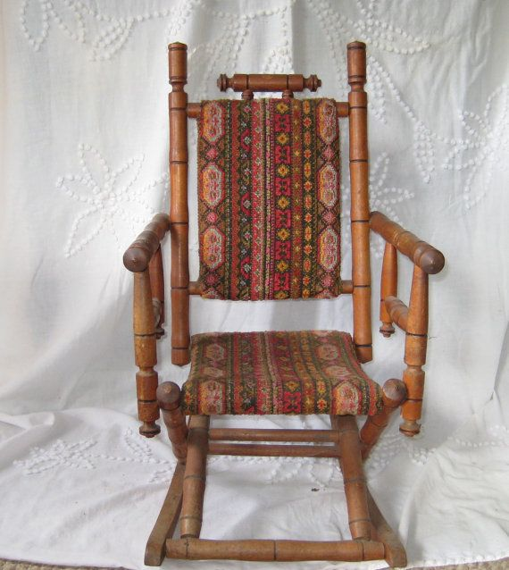 Antique Rocking Chair, Wooden Victorian Childs Rocker Tapestry Fabric via  Etsy - 155 Best Just A Rockin ! Images On Pinterest Rocking Chairs