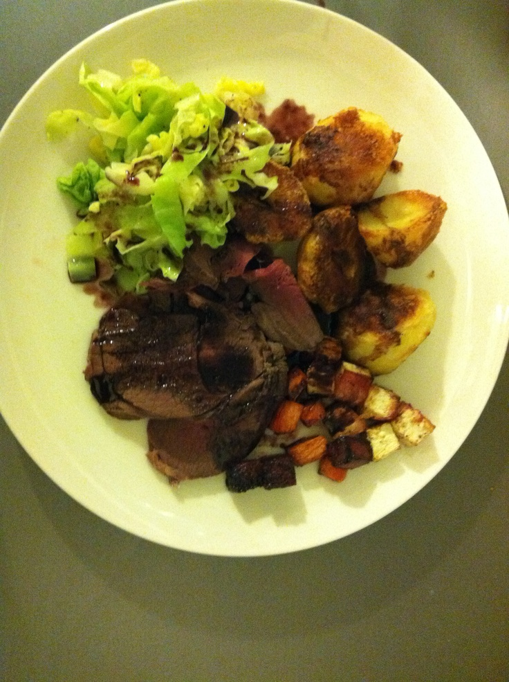 Roast venison and root vegetables with red wine, chocolate and ...