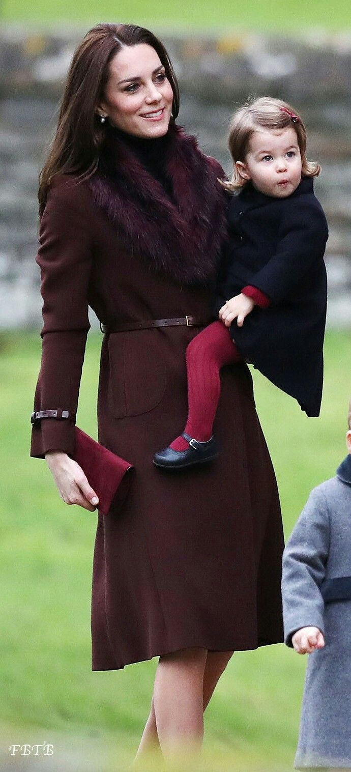 Duchess Catherine and her daughter Princess Charlotte, Christmas 2016