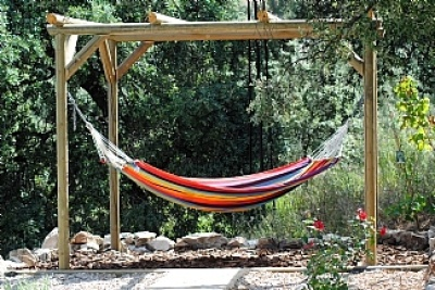Like the rustic nature of this hammock pergola rustic home pinterest trees canvases and - Pergola climbing plants under natures roof ...