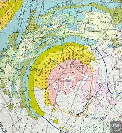 Geologic map of the Vredefort impact structure near Johannesburg, South Africa.