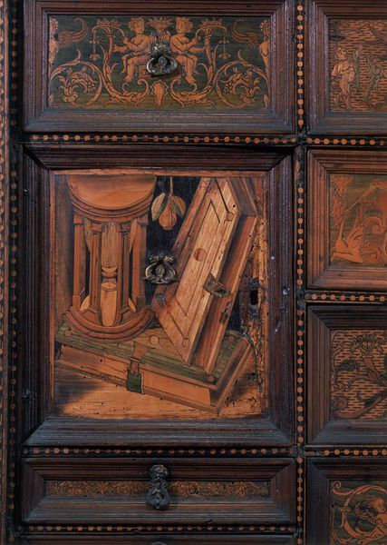 'Plus Oultra Cabinet', c. 1530. Walnut inlaid with various woods, probably spindlewood, ebony, poplar, ash, holly and a tropical hardwood. H: 81.3 cm, W: 134 cm. Cabinet, with a carved cornice and inlaid frieze of grotesques, inlaid sides depicting the allegorical figures Temperance and Justice. Emblazoned with the Pillars of Hercules, the emblem of Charles V with the motto 'PLUS ULTRA' on the inside. -Victoria and Albert Museum-