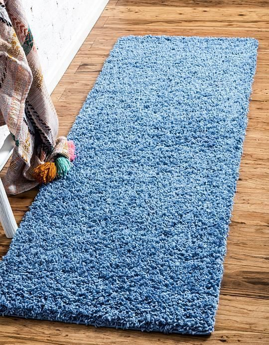 Periwinkle Blue Solid Shag Area Rug