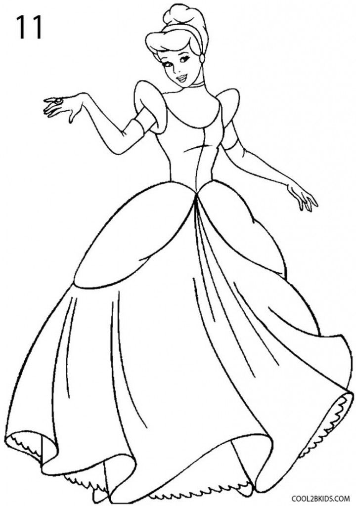 How to Draw Cinderella Step 11 | Cinderella drawing ...