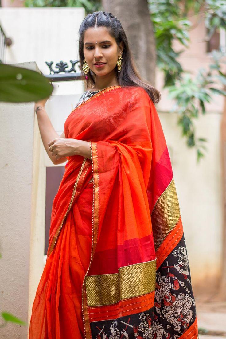 Orange red banded Mangalgiri cotton saree with handpainted Kalamkari pallu detailing  #saree #blouse #houseofblouse #indian #bollywood #style #red #orange #mangalgiri #cotton #handpainted #kalamkari #pallu