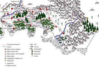 Kirjan tapahtumapaikkojen kartta