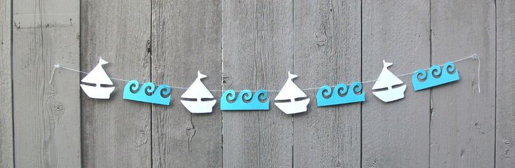 Nautical Sailboat and Waves garland, Sailboat garland,  Nautical party decorations, Bridal shower, Bon Voyage, Nautical garland, Ocean theme by PrettyPartyPaperie on Etsy https://www.etsy.com/listing/468794405/nautical-sailboat-and-waves-garland