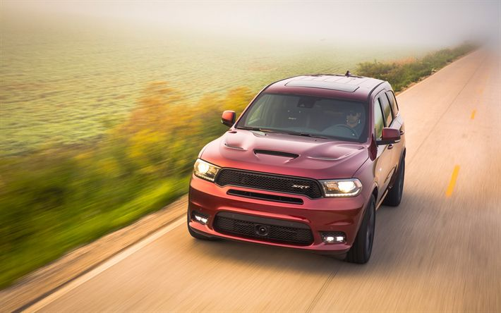 Download wallpapers road, Dodge Durango SRT, SUVs, mevement, 2018 cars, red Durango, Dodge