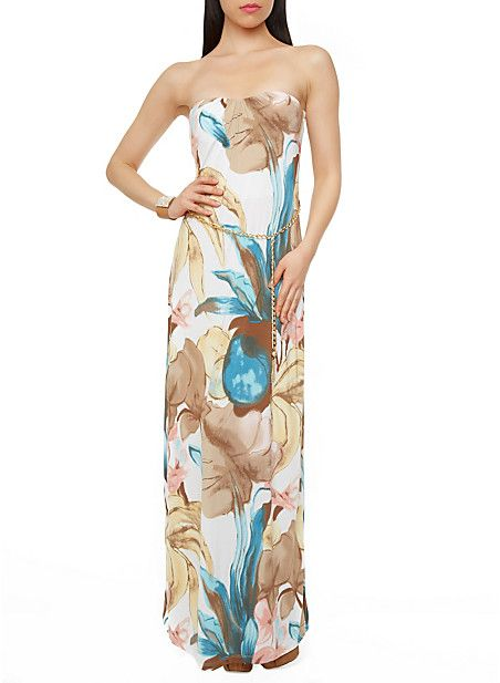 watercolor floral print strapless maxi dress with chain