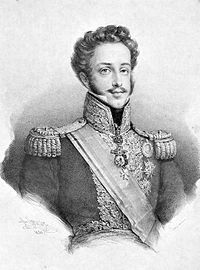 Engraved half-length portrait showing a young man with curly hair who is wearing an elaborate brocade military tunic with epaulets, a striped sash of office and medals