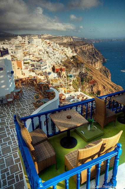 Typical Restaurant in Firá, Santorini, Greece. Photography by JoshTrefethen. visit http://www.studentrate.com/StudentRate/School/Deals/Travel.aspx for travel deals: Bucketlist, Buckets Lists, Santorini Greece, Dreams Vacations, Cups Of Memorial, Blue Green, Beautiful Places, Travel Deals, Restaurant