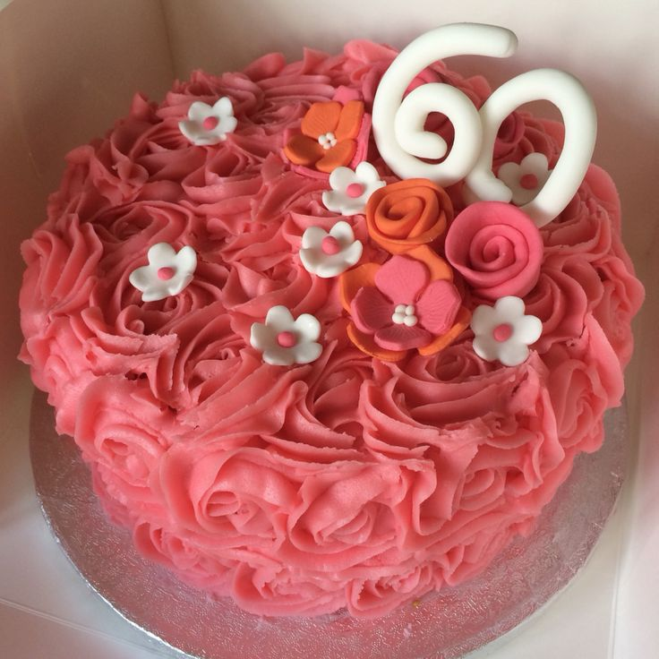 Bright Rose Swirl 60th Birthday Cake With Pink, Orange and White Fondant Flowers