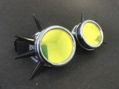 Giallo Spiky alluminio Goggle minion cyberpunk aviator occhiali da sole occhiali cyber occhiali occhiali occhiali punk giallo della tubazione di cosplay