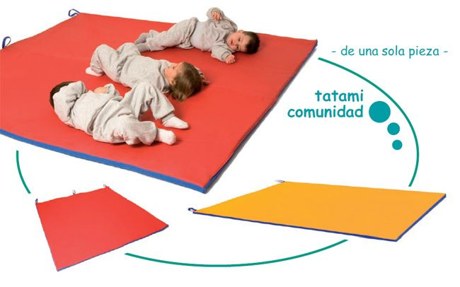 Tatami comunidad - Producto de una sola pieza .  Muy adecuada para recintos de bebés y salas donde se precise cubrir el suelo con un agradable Tatami aislante, suave y semi-rigido para poder andar, gatear, rodar…sin notar dureza. Medidas: 200x180x2 cm Tela suave y lavable de pvc