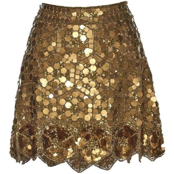 Pre-owned Matthew Williamson Silk Mini Skirt (€225) ❤ liked on Polyvore featuring skirts, mini skirts, gold, women clothing skirts, mini skirt, brown mini skirt, beaded mini skirt, short brown skirt and sequin skirts