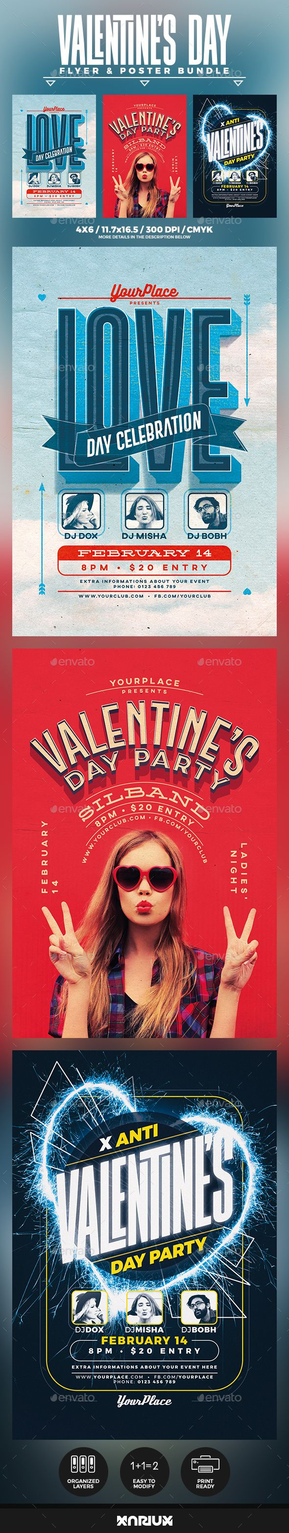 Valentine's Day Flyer and Poster Bundle #valentine #love • Download ➝ https://graphicriver.net/item/valentines-day-flyer-and-poster-bundle/21351390?ref=pxcr