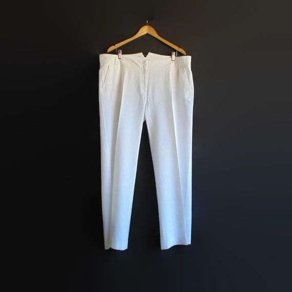 Womens Pants - White Linen Pants - 90s Clothes - Plus Size 3X - Vintage Clothing - Summer Trousers - Linen Trousers - Vintage Pants