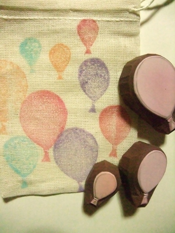 hand carved rubber balloons stamp