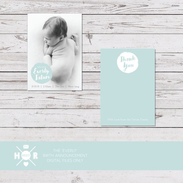 Printable - The 'Everly' Birth Announcement | Baby Thank You Card by hudsonmeetrose on Etsy
