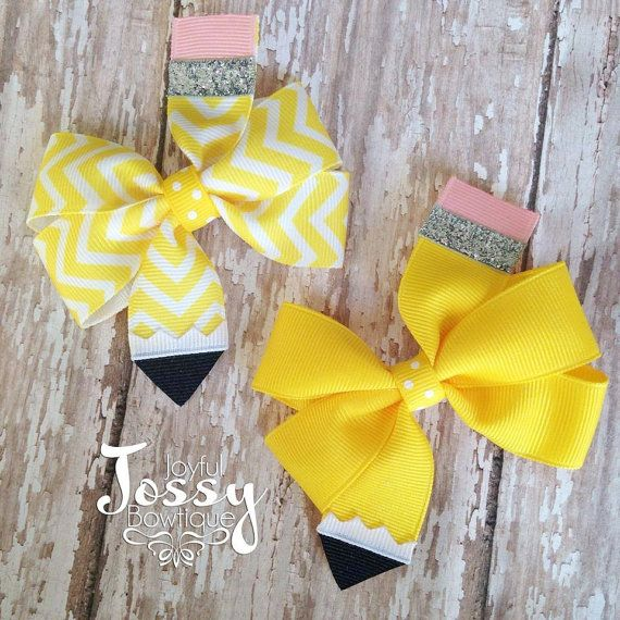 Back to school hair bows pencil hair bows by JoyfulJossyBowtique