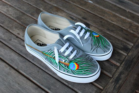 Hand Painted Peacock Feathers on Grey Authentic by BStreetShoes, $139.00