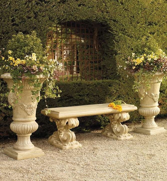 The elaborately scrolling Baroque Garden Bench brings timeless elegance to any garden and provides a venue to rest and admire the landscape.: Gardens Ideas, Outdoor Furniture, Trishia Planters, Baroque Gardens, Garden Benches, Hairstyles Ideas, Accessories, Outdoor Spaces, Gardens Benches