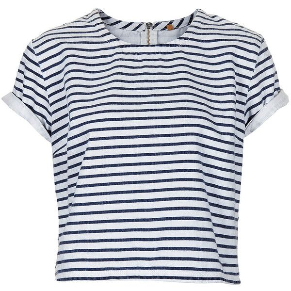 TOPSHOP MOTO Stripe Denim T Shirt ($30) ❤ liked on Polyvore featuring tops, t-shirts, shirts, topshop, multi, denim t shirt, zipper t shirt, striped denim shirt, zip t shirt and stripe tee