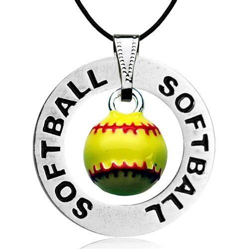 Softball Message Ring and Softball Charm Necklace by First String Jewelry