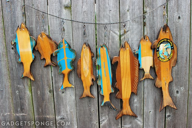 GadgetSponge.com - Repurposing, Upcycling, Birds & Nature - Repurposed / Upcycled Vintage Water Ski Custom Fish on a Stringer