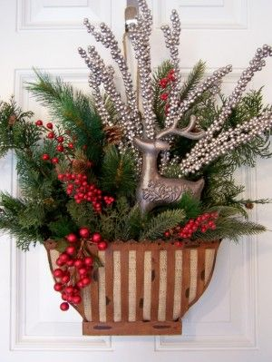 Winter Reindeer Door Bucket -- made using a discontinued Southern Living basket.  Southern Living/Willow House products are timeless.