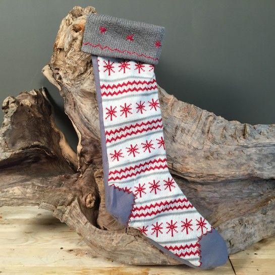 Χριστουγεννιάτικη Κάλτσα Με Λεπτομέρεια Νιφάδες