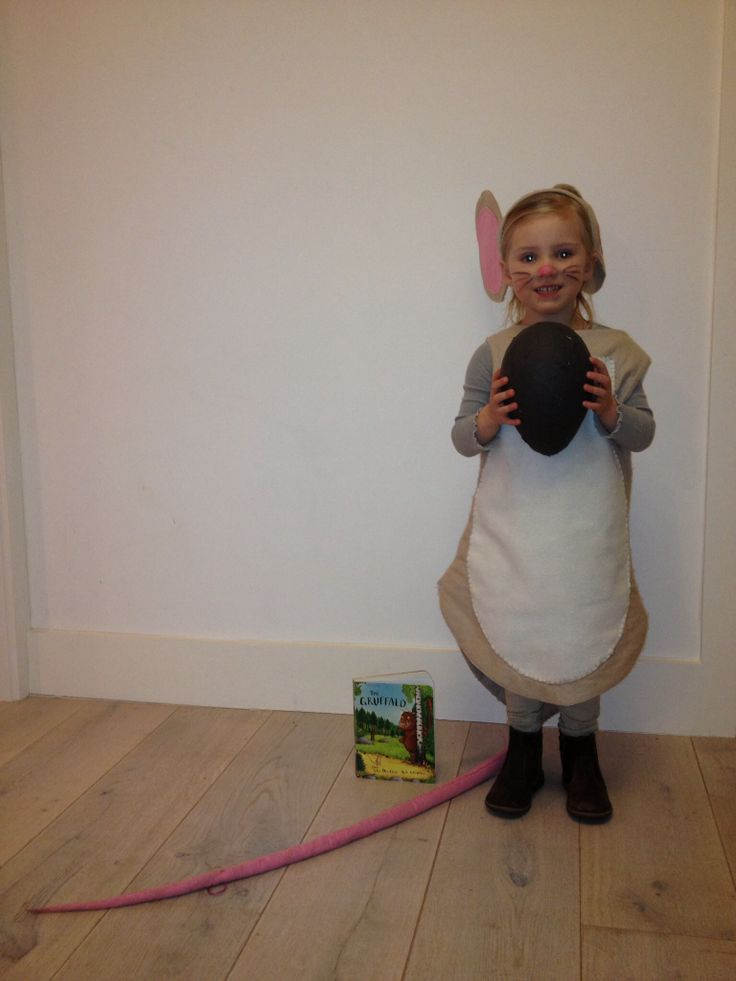 Little brown mouse from gruffalo costume with papier mâché nut