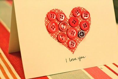 Quickie Button Valentine's Day Card: Valentine Day Cards, Buttons Valentines, Quicki Buttons, Valentine Cards, Valentines Cards, Button Cards, Buttons Cards, Valentines Day Cards, Diy Cards