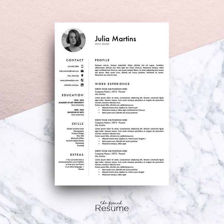 Resume Template with Photo CV Cover Letter & References for