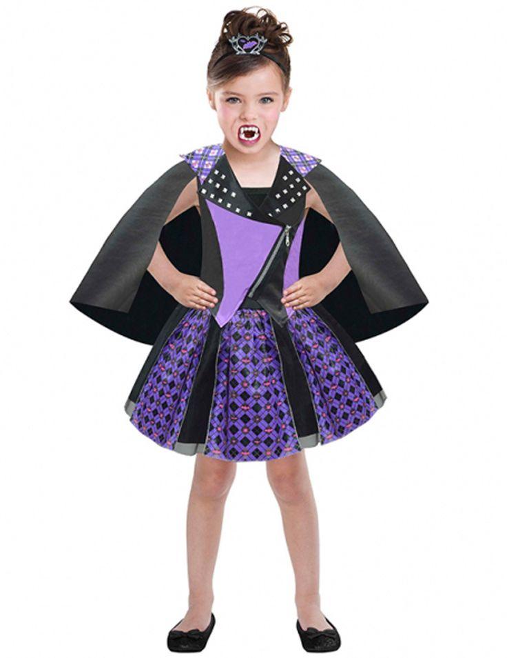 Dit Chica Vampiro™ Daisy kostuum voor meisjes zal perfect geschikt zijn als Halloweenkostuum om een jonge vampier te worden! - Nu verkrijgbaar op Vegaoo.nl