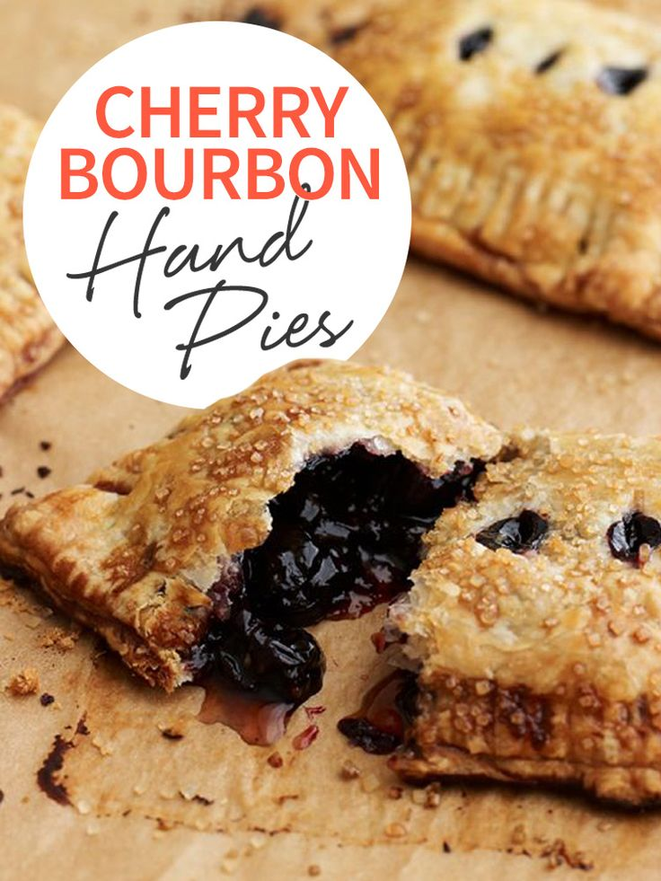 These Cherry Bourbon Hand Pies are so sweet and tart, and easy to make with frozen puff pastry! Bake them for your next get together! http://www.joyofkosher.com/holidays/