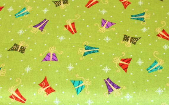 Christmas Fabric Holiday Cheer 1649-45697 Green Presents Studio 8 for VIP 100% Cotton Quilt Apparel Craft Tossed Packages on Lime Green by JacobandChloesLLC on Etsy