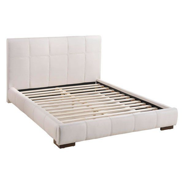 AMELIE BED QUEEN WHITE Wrapped in a luxurious leatherette quilting, the Amelie bed is gorgeous platform with both style and flash. With a bowed and slated mattress support, it provides generous comfort with durability. Comes in black or white and king or queen.