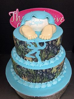 Camouflage Baby Shower Cake. Use orange instead of blue