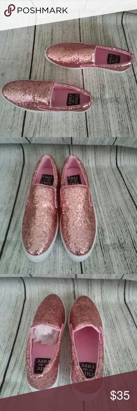 Cute to the Core Pink Glitter Platform Tennis Shoe NWB. Size 8. Women's brand new pink platform shoes. The run true true to size. Super cute and kinda light weight. They have never been worn. Please Make All Offers. Please ask all questions before buying.  Happy shopping. cute to the core  Shoes Platforms