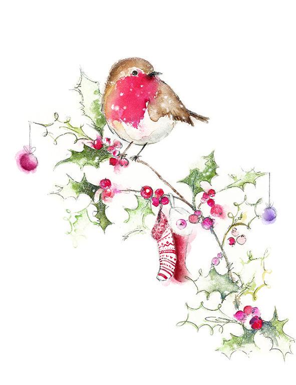 watercolour christmas robin - bright art