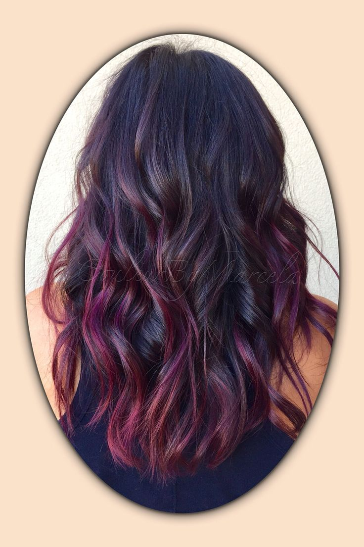 Balayage painted hair fall colors red violet