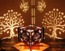 Lasercut madera decorativa de la lámpara de sombra arce árbol, silueta de proyectos en la pared, arte de la sombra
