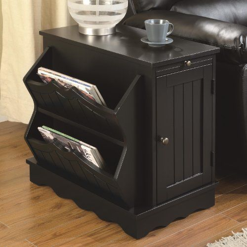 Charming Country Style End Table With Magazine Rack In Black Finish By Coaster  Furniture Coaster Home Furnishings Amazing Design