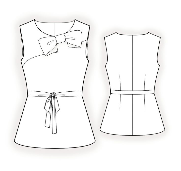 Blusa  - Patrón de costura #4366 Patrón de costura a medida de Lekala con descarga online gratuita. Entallado, Pinzas, Canesú, Waist band, Asimétrico, Belt, Cuello redondo, Sin cuello, Sin mangas, Sin bolsillos