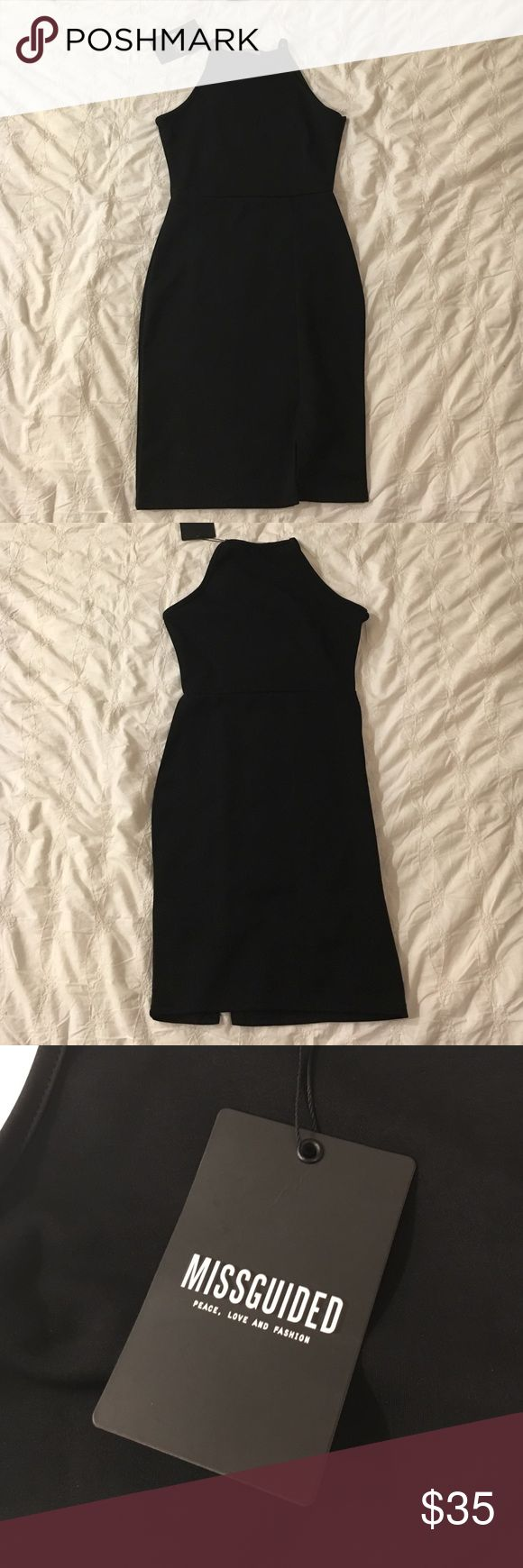 Black Cocktail Misguided Dress Brand New. Never worn. It's perfect and I love it, it just was too small for me. Great detail around waist line and small slit at the bottom Misguided Dresses